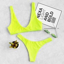 - Neon Plunge Neckline High Leg Bikini Set