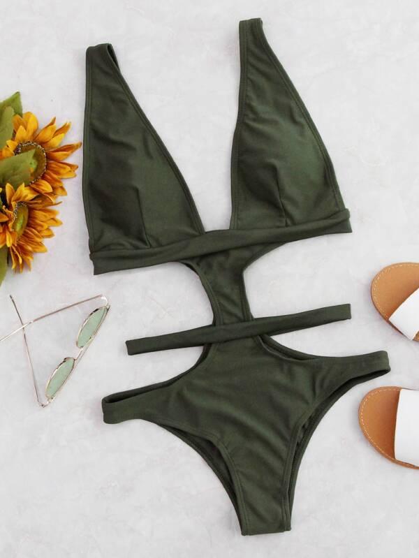 50251a309d07c Cutout Design Plunge Neckline Monokini | SHEIN UK