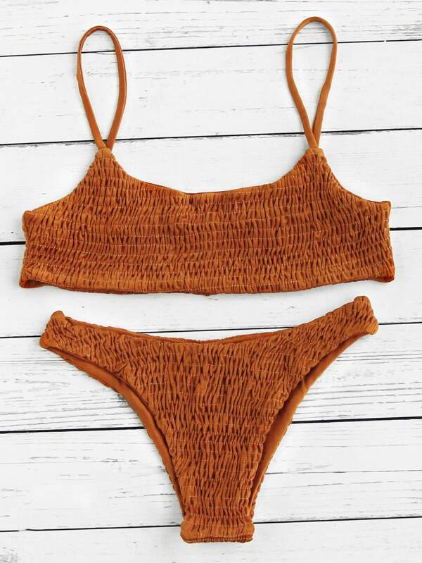 02c7295255ac2 Push Up Shirred Bikini Set | SHEIN