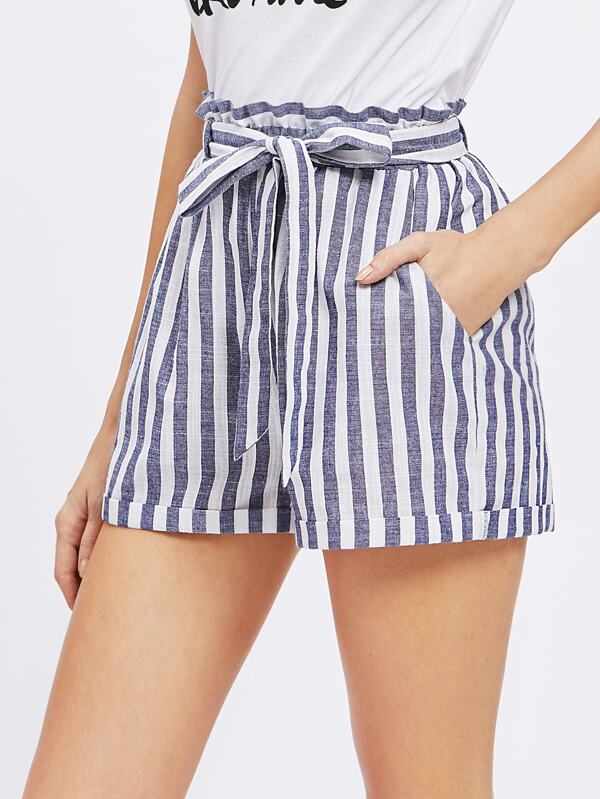 21a86d26423f Paperbag Waist Self Belted Paperbag Shorts | SHEIN