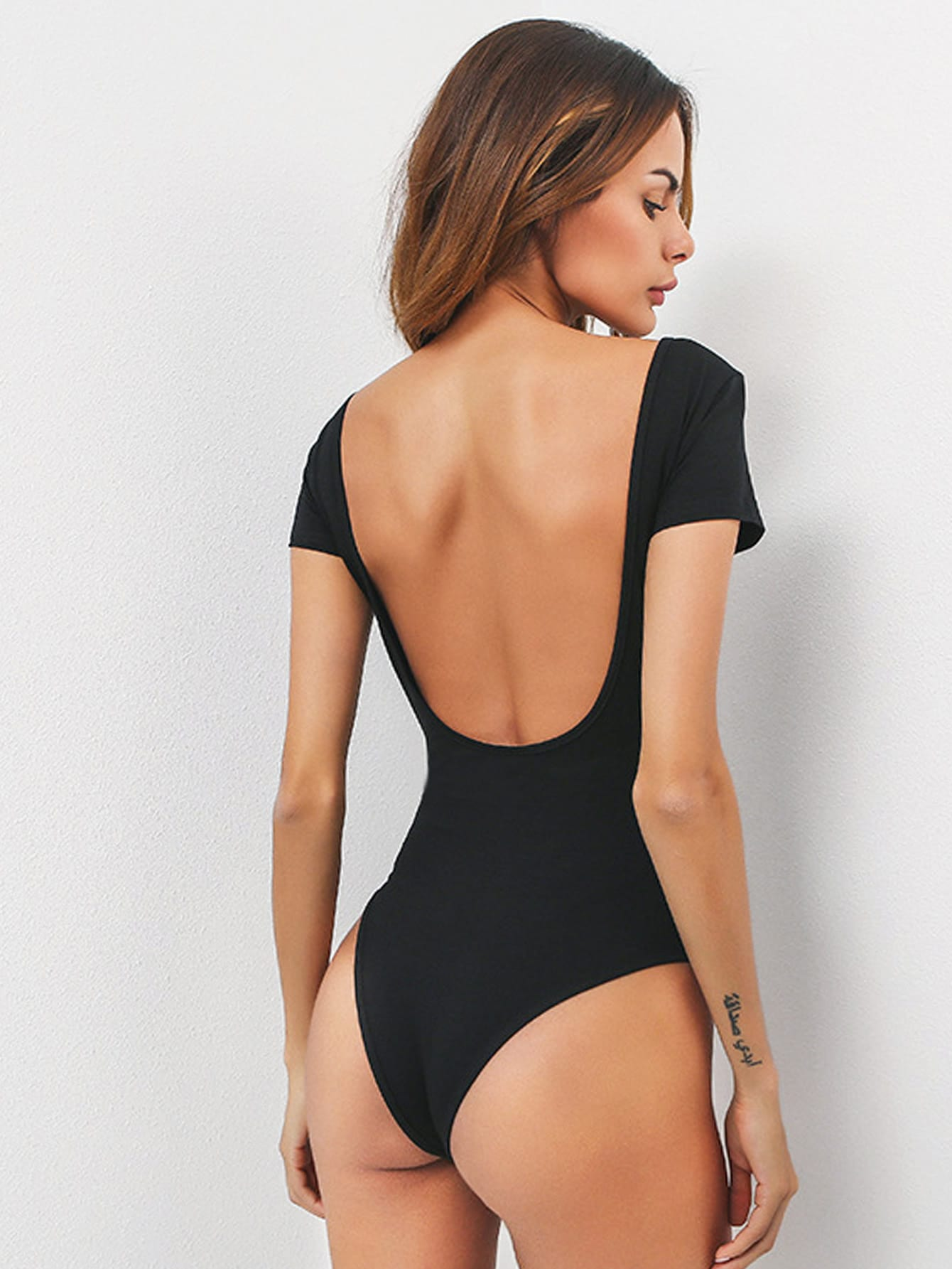 Body dos nu col en u french shein sheinside - Body interior espalda descubierta ...