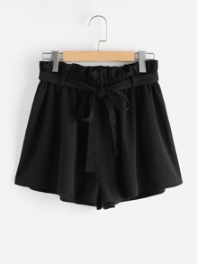 Frill Waist Self Belted Shorts