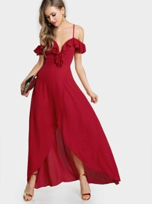 Frill Cold Shoulder Plunge Sweetheart Wrap Dress