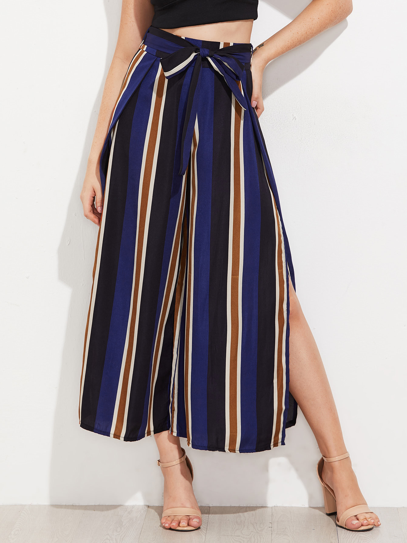 Vertical Striped Split Side Wide Leg Pants