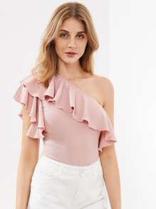 Flounce One Shoulder Textured Bodysuit