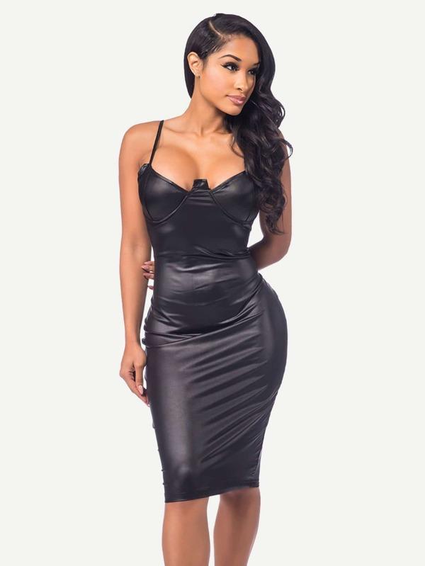 fdb534c2954f9 Faux Leather Cami Dress | SHEIN UK