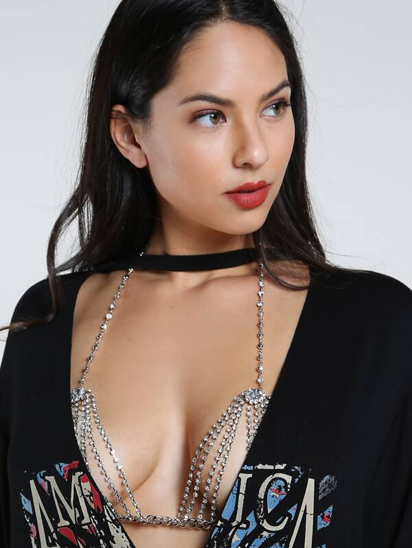 32f0a9f62f5ae4 Bejewelled Crystal Body Chain Bralette SILVER