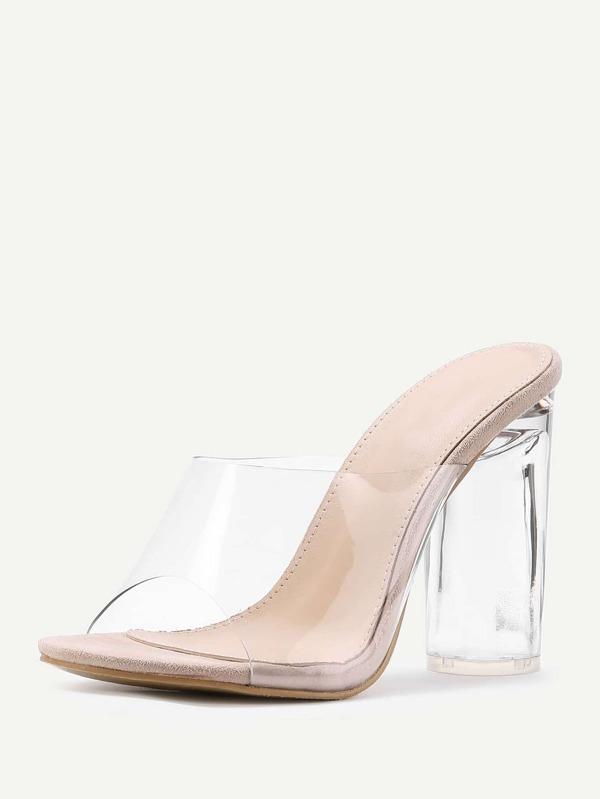 2fbdc3eae732 Clear Design Block Heeled Sandals