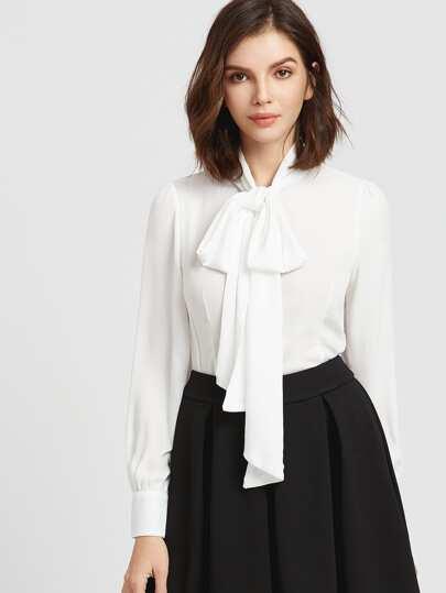 9c67c4bdc Blusa cuello con cordón de lazo y bajo redondeado - blanco