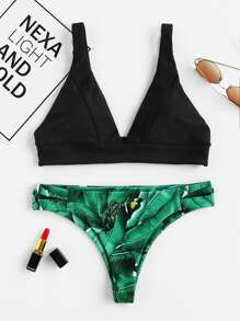 Palm Print High Leg Bikini Set