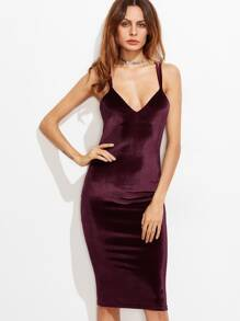 Double Strap Crisscross Back Velvet Pencil Dress f2bb85934