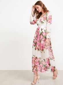 Floral Print Belted Surplice Cami Dress