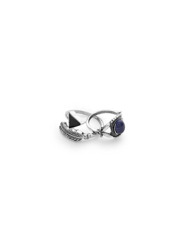 69b509300 Gemstone Embellished Hollow Ring Set 7pcs