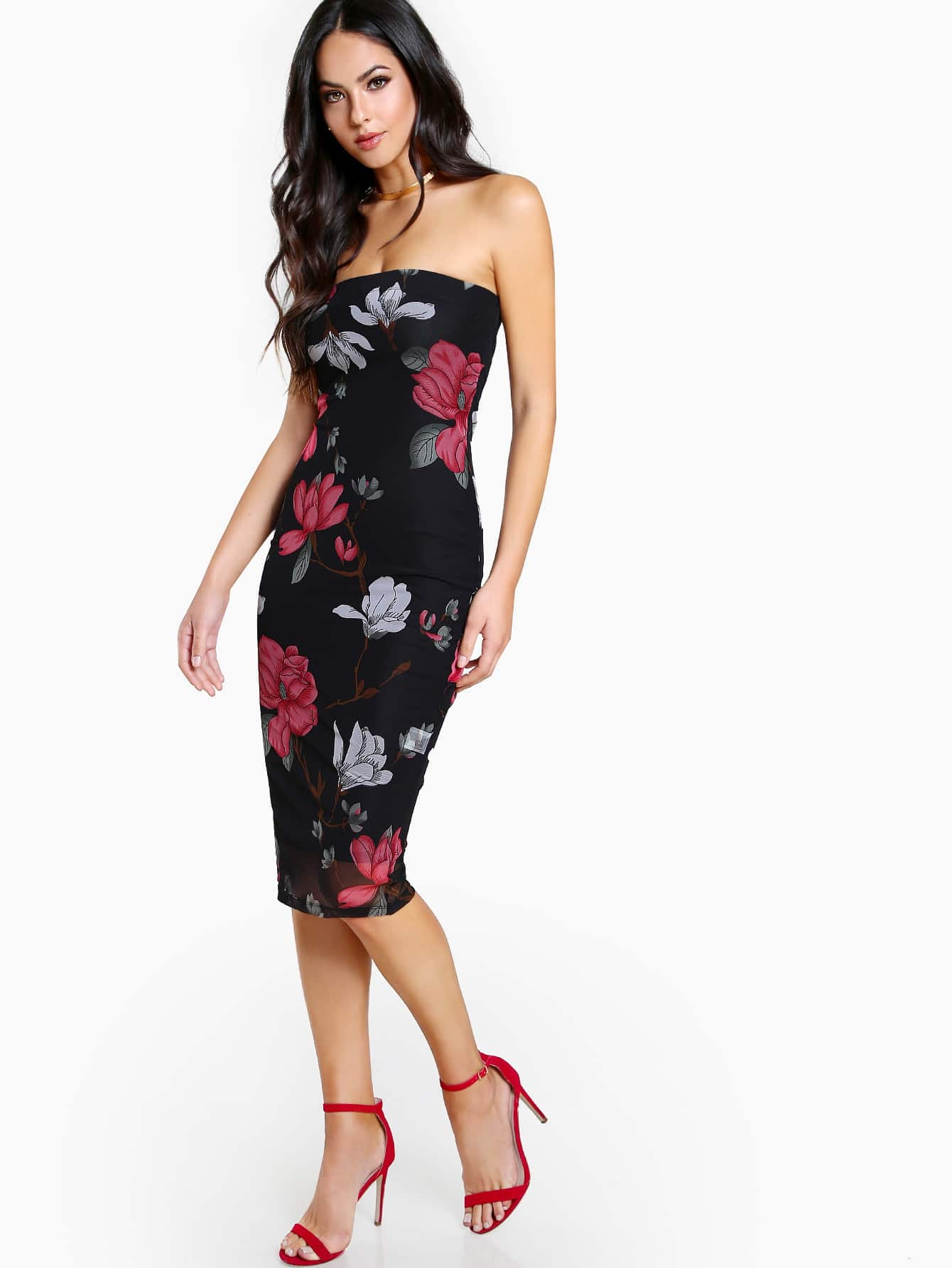Flower Print Bandeau Dress Flower Print Bandeau Dress
