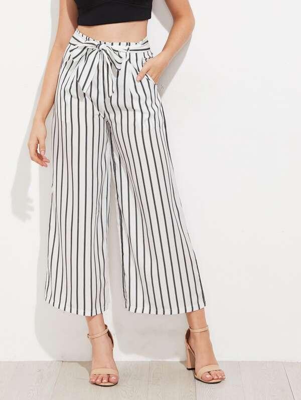 fc6db86b55 Vertical Striped Self Tie Wide Leg Pants   SHEIN