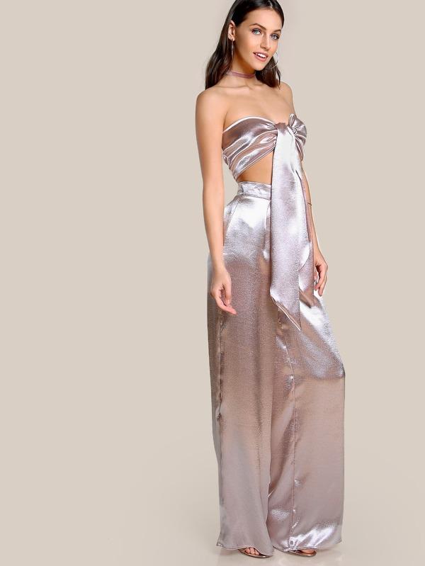 300223b98 Satin Self Tie Crop Top & Matching Pant Set BLUSH | SHEIN