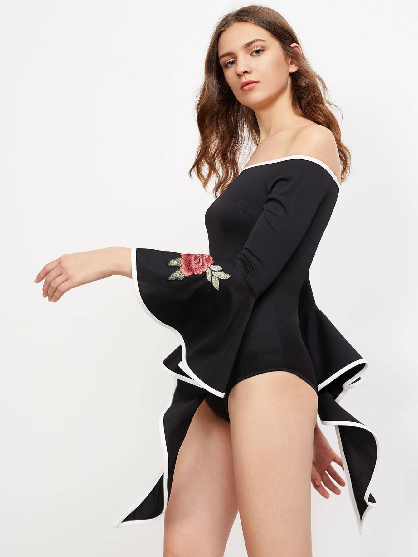 37414075bd Contrast Binding Rose Patch Exaggerated Bell Sleeve Bardot Bodysuit pictures
