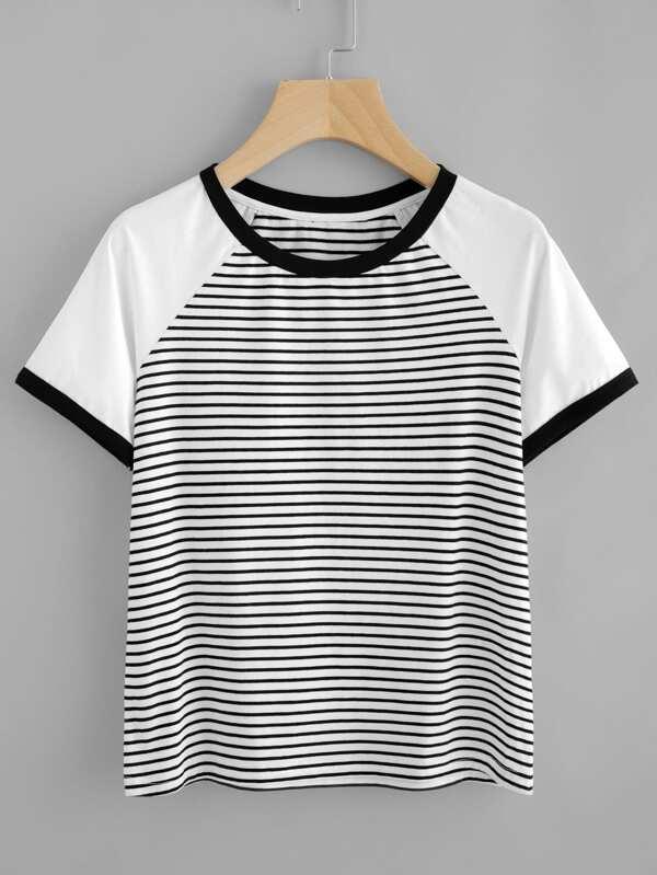 3307a36f690c9 Contrast Raglan Sleeve Striped Ringer Tee