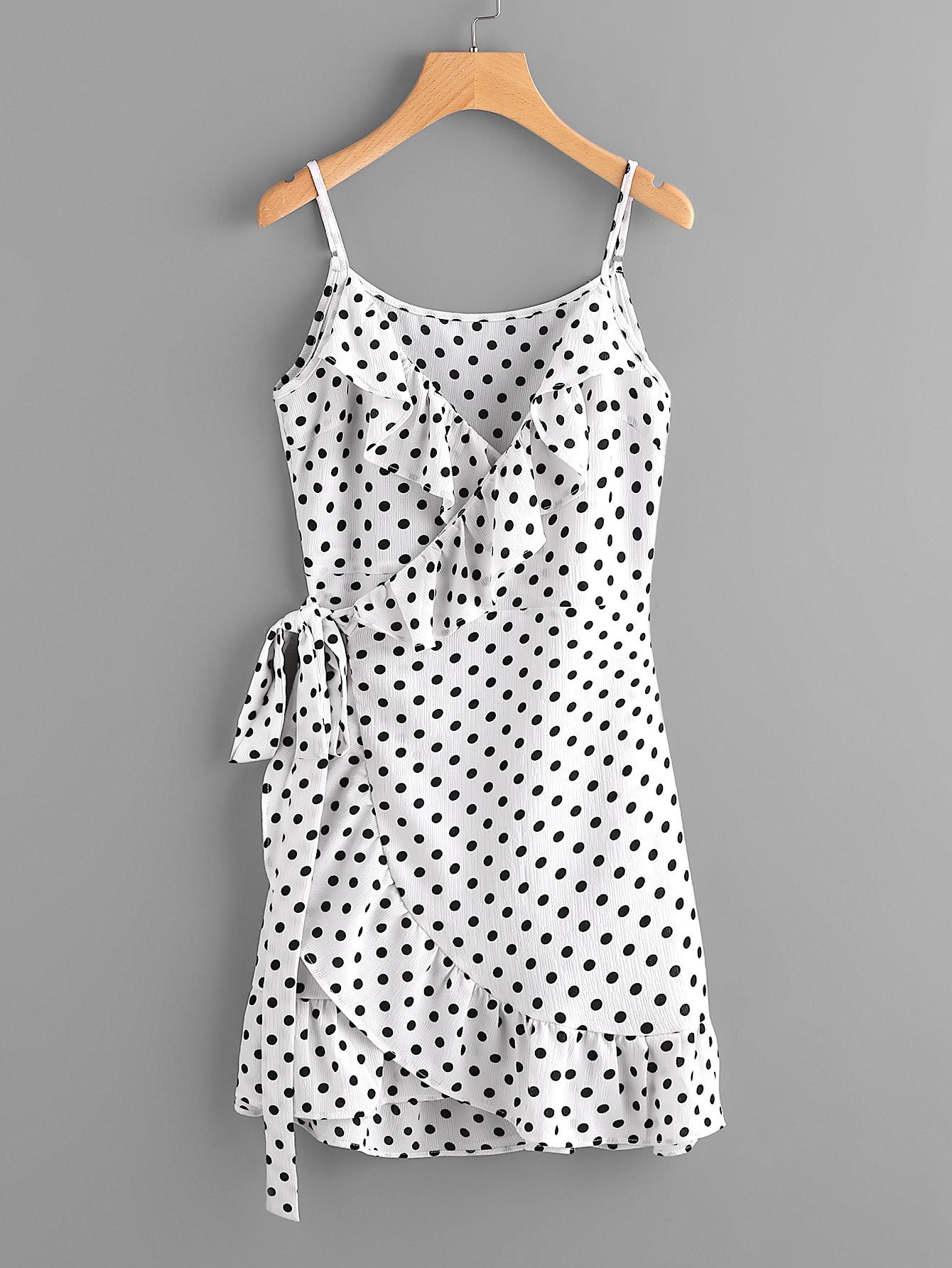 Polka Dot Wrap Self Tie Waist Frill Cami Dress Emmacloth