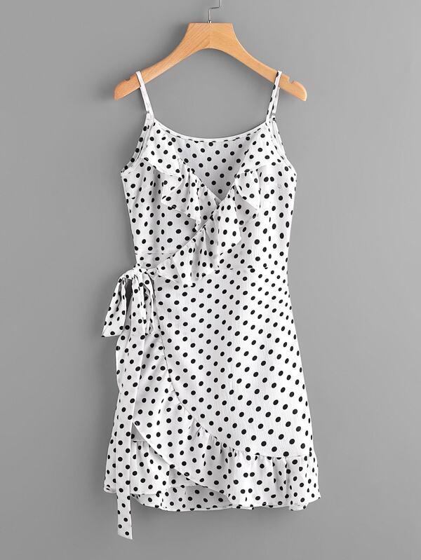 e3d5791c048 Polka Dot Wrap Self Tie Waist Frill Cami Dress