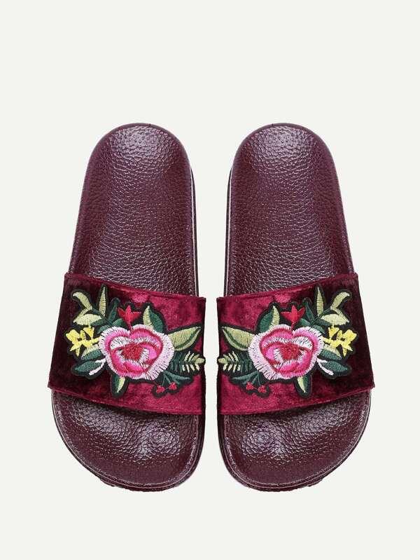 velvet floral patch slides shein sheinside