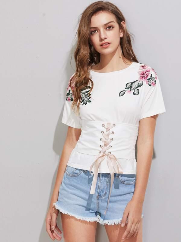 167b2edc0ea Lace Up Corset Belt Detail Flower Patch T-shirt