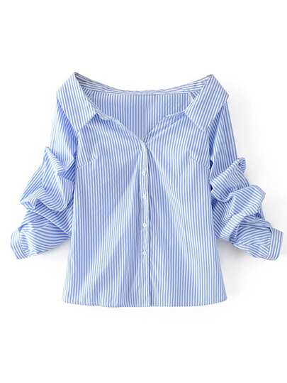 Gathered Sleeve Bardot Striped Shirt