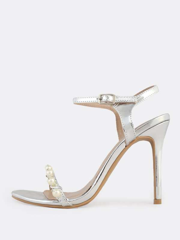 97c622f7513 Dainty Metallic Pearl Ankle Strap Heels SILVER