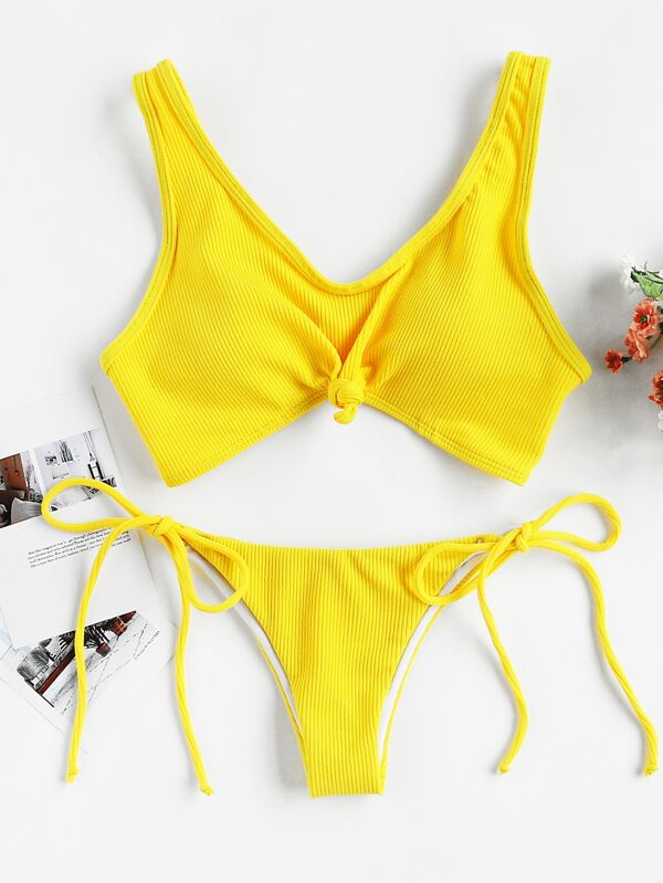 995f269f34 Knot Front Top With Self Tie Side Bikini Set | SHEIN UK
