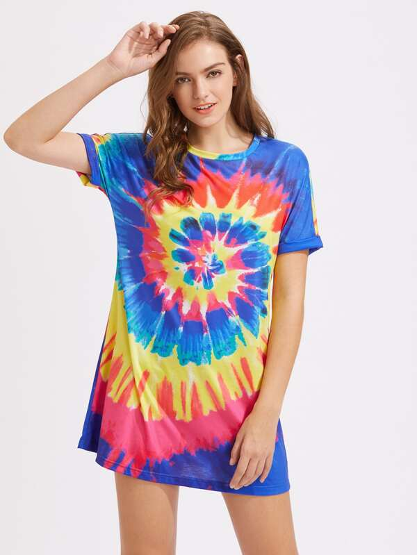 b9be8a0021 Roll Sleeve Spiral Tie Dye Dress | SHEIN