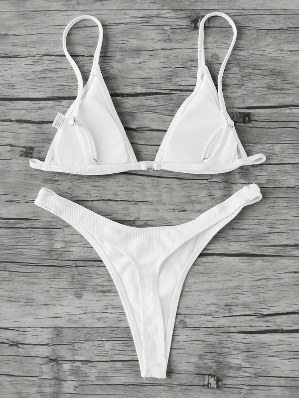 f212bcfbecf61 Cheap Ribbed Triangle Top With High Leg Bikini Set for sale Australia    SHEIN