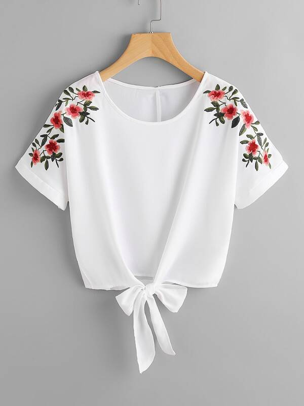 b768be7bf6 Flower Embroidery Knot Front Top | SHEIN