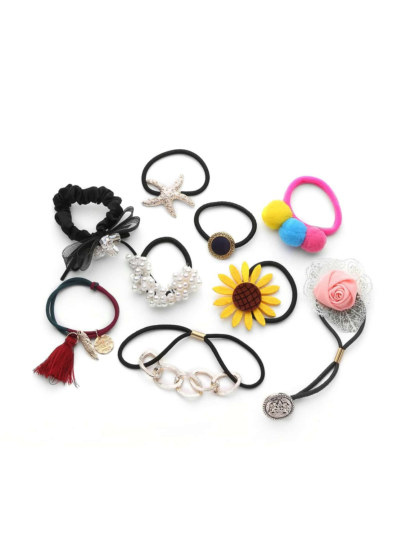 Flower   Faux Pearl Embellished Hair Tie 9pcs -SheIn(Sheinside) 9bbb78541e1