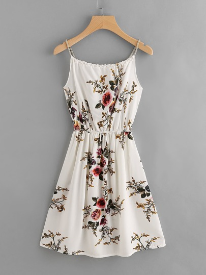 Floral Print Pearls Decoratin Braid Cami Dress
