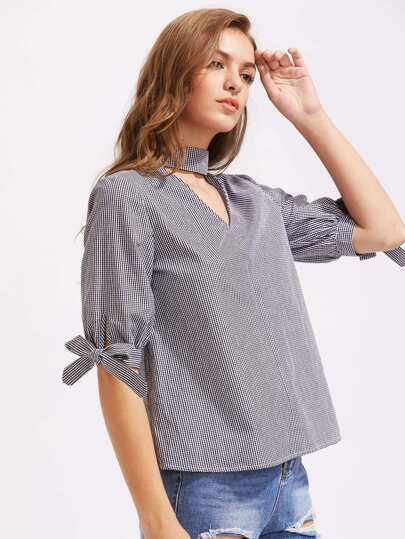 Cutout Choker Neck Tie Sleeve Gingham Blouse