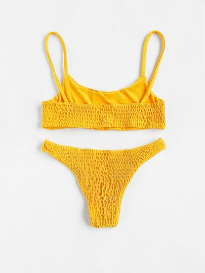 d19789ee9f Scoop Neck Top With Smocked Bikini Set