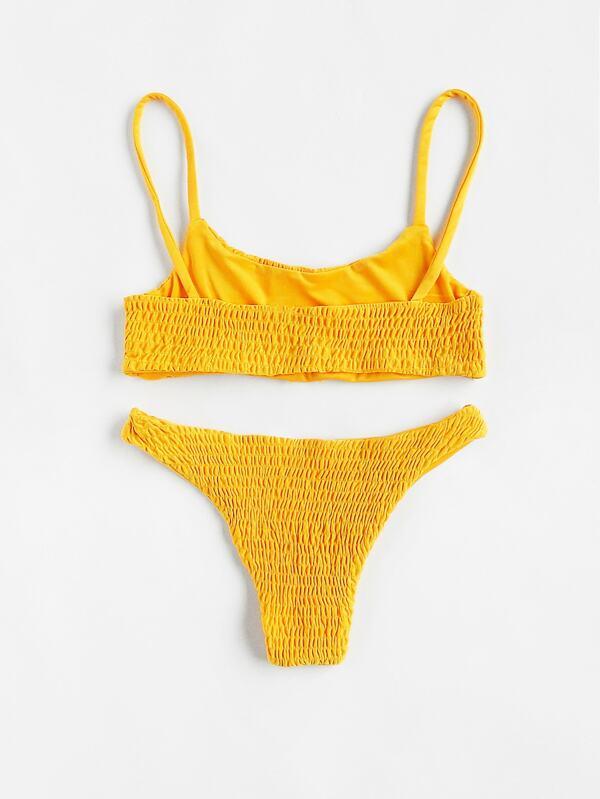 c3c8047120cf8 Scoop Neck Top With Smocked Bikini Set