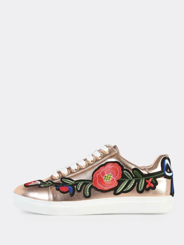 7df24aae2d Embroidered Metallic Sneakers ROSE GOLD | SHEIN