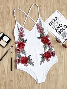 Rose Embroidered Applique Criss Cross Backless Bodysuit