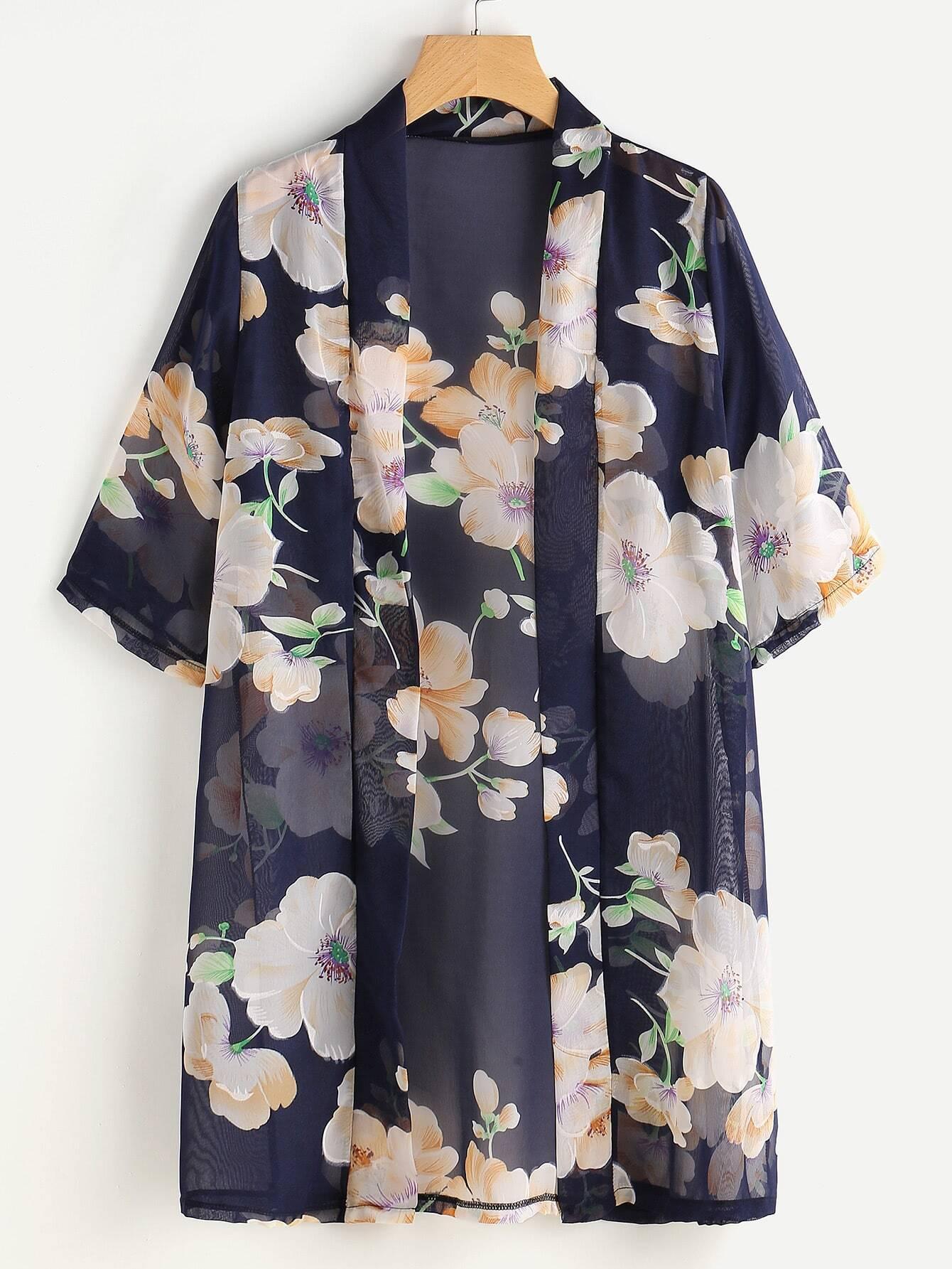 Random Florals Chiffon Kimono Shein Sheinside
