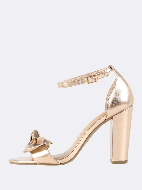 76e4f8dc16 Metallic Bow Ankle Strap Heels ROSE GOLD | SHEIN