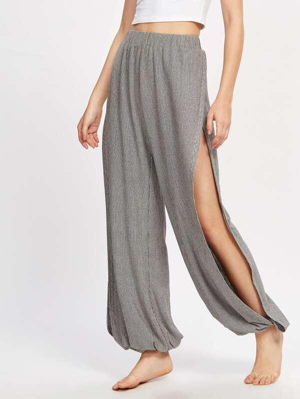 d752c62373cc Split Side Striped Harem Pants | SHEIN UK