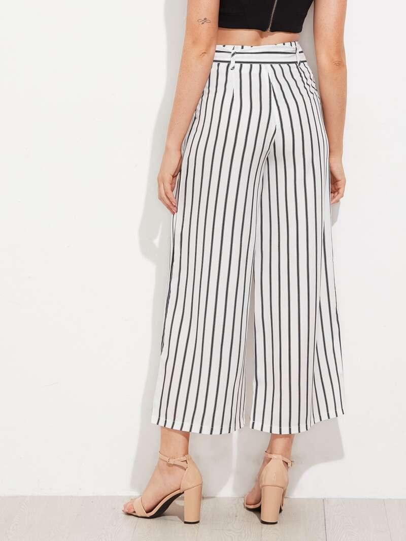 Pantalon Taille 34 Haute Ceinture Et Rayures Avec Blanc j4LqARS3c5