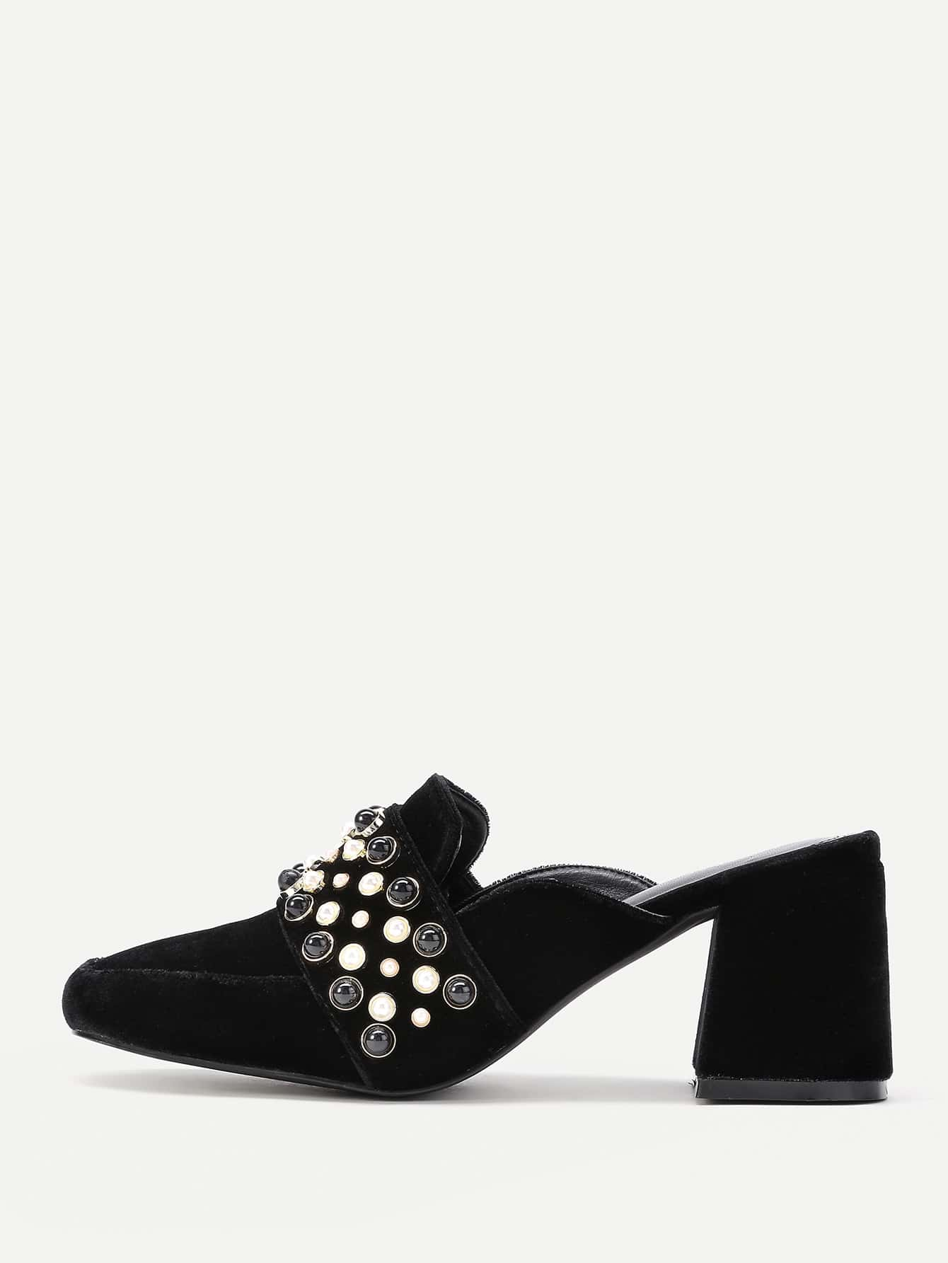 304611ab3fd Faux Pearl Embellished Heeled Mules EmmaCloth-Women Fast Fashion Online