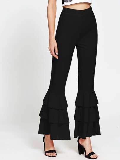 Layered Ruffle Bell-Bottoms Pants