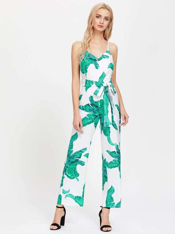 4d2fcb5aebb Palm Leaf Print Self Tie Cami Jumpsuit. AddThis Sharing Buttons