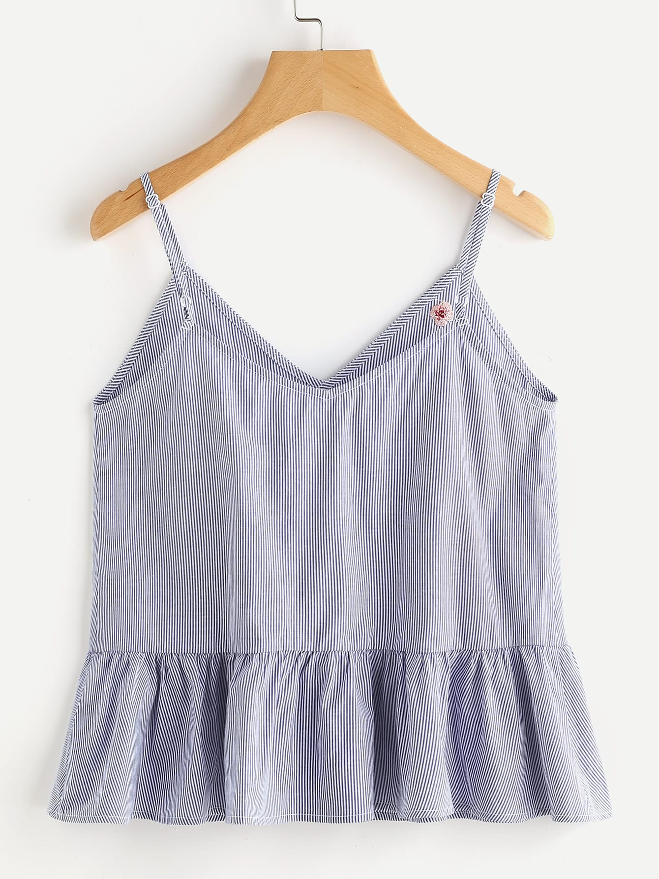 0a7578dc1 Blossom Embroidered Ruffle Cami Top EmmaCloth-Women Fast Fashion Online