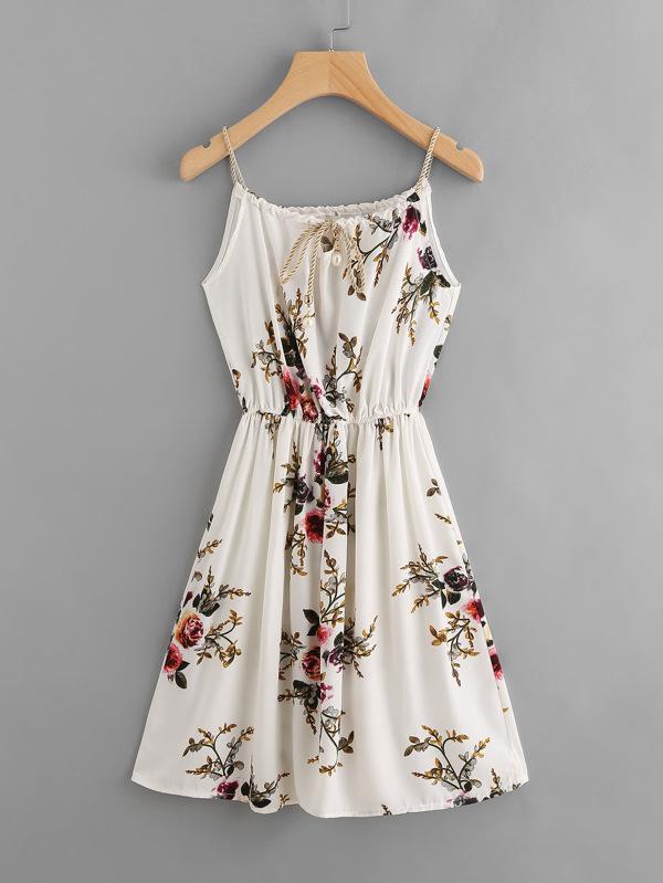 ae78ebc452c Floral Print Self Tie Cami Dress