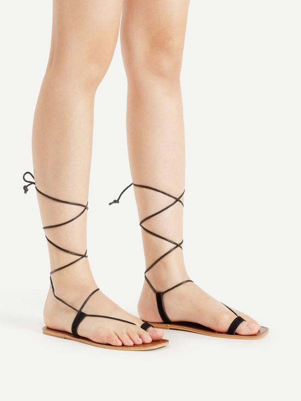 47009c7d4b26 Toe Ring Tie Leg Flat Sandals -SHEIN(SHEINSIDE)