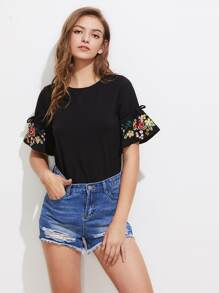 Embroidered Drawstring Sleeve Tee